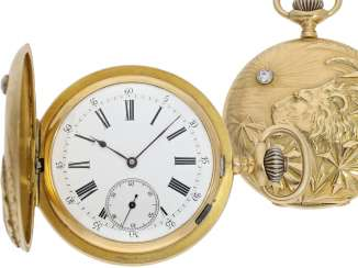 Pocket watch: heavy Anchor chronometer with a very rare art Nouveau relief housing,