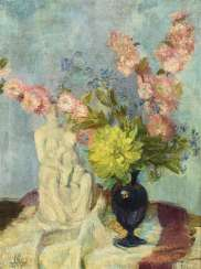 Monogrammist: Still life with flowers and a porcelain figure