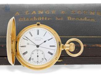 Pocket watch: glashütte rarity, one of the earliest and, to date, not listed on the A. Lange & Söhne gold savonnetten with