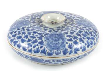 Porcelain lidded box with blue-and-white Lotus decor