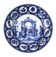PLATE, BLUE-AND-WHITE, PORCELAIN,