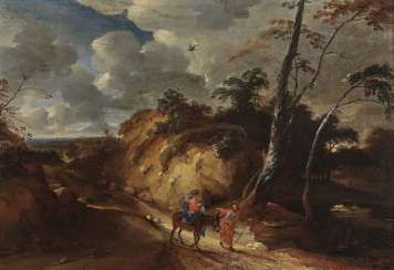 Lodewijk de Vadder, attributed to - Wide landscape with representation of the Holy Family on the flight into Egypt