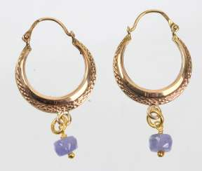 Hoop earrings with tanzanite - yellow gold 333