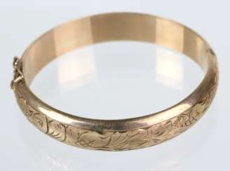 Bangle with Vienna engraving - yellow gold 333