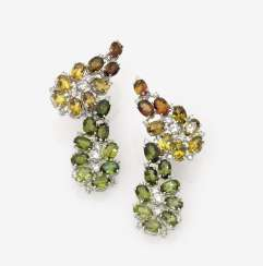 A Pair of drop earrings with diamonds and tourmalines