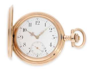Pocket watch: rare, extra-large IWC Savonnette in rose gold, special caliber, CA. 1905