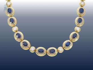 Necklace/Collier: probably one of a kind and extremely high quality, with fine brilliant-cut diamonds and sapphires-encrusted gold work, wrought, 14,28 ct