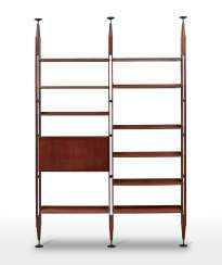fall cabinet | Two-module bookcase with fall front cabinet