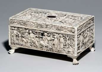 Fine cover box for sewing utensils made of ivory