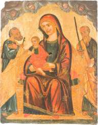 ICON WITH THE ENTHRONED MOTHER OF GOD FLANKED BY THE APOSTLES PETER AND PAUL