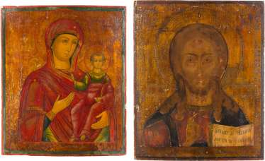 TWO LARGE ICONS: MOTHER OF GOD OF SMOLENSK AND CHRIST PANTOKRATOR