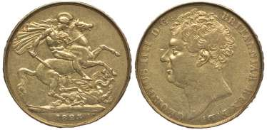 ENGLAND 2 pounds 1823 George IV KM 690, Spink 3798 gold 10-016-51