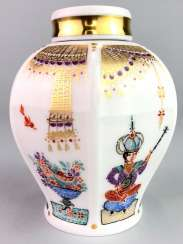 Tea caddy with lid: Meissen porcelain 1001 Arabian nights, gold plated, gold ornaments, Prof. Heinz Werner, very good.