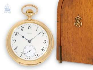 Pocket watch: unique Patek Philippe pocket watch with enamelled coat of arms, and a minute repeater, sold to Tiffany in 1901, with a special original box, and trunk book excerpt
