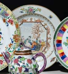 Export porcelain plate with Christ-the scene in the colours of the 'famille rose'