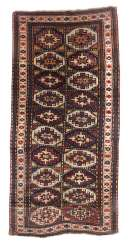 Garabagh with a Memling-Göls the South Caucasus, around 1900/1910, wool on wool, the inner box, cassette tape patterned with 2x10 Memling-Göls in alternating colour, white basis main border with flowers-double tendril, LxW