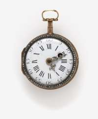Ladies pocket watch with enamel miniature of a lady