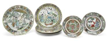 Six porcelain plates with decorations in the colours of the 'Famille rose'