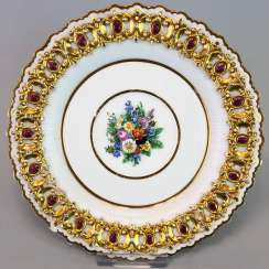 Institutional / wall is adorned with plates: Meissen porcelain, decorative plastic flower Bouquett, Gold. Classicism, very good.