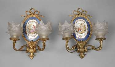 Pair of wall appliques with beading Watteau scene
