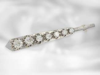 Brooch / pin: interesting antique brooch with diamonds, total approx. 1.8 ct, 14K white gold