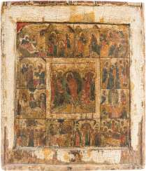 ICON THE DESCENT OF CHRIST INTO HELL AND THE TWELVE GREAT FEASTS OF THE ORTHODOX CHURCH YEAR