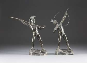 HERMANN EICHBERG shooter Active around 1900 in Berlin, Two sculptures: the spear thrower and the bow