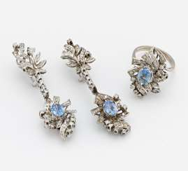Sapphire and diamond set: earrings and ring