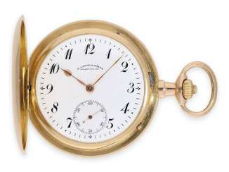 Pocket watch: large red and gold savonnette, A. Lange & Söhne Glashütte No. 62326, Glashütte approx. 1910, delivered to court jeweler Hartmann Berlin, with extract from the archives