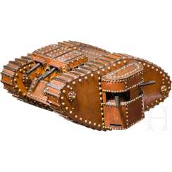 Wood table model of a British Mark IV Tanks with machine guns (