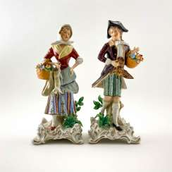 Pair of porcelain figurines of the domestic scene, Germany, Sitzendorf, perfect condition, handmade
