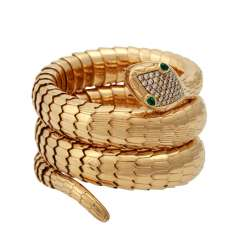 """Snake"" bangle with emerald eyes"