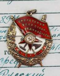 Soviet Union: Order Of The Red Banner Order, 3. Model, 2. Type was awarded to a Lieutenant Colonel in the 21.2.1945.