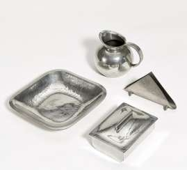 Tin bowl, cake box, small jug and napkin holder