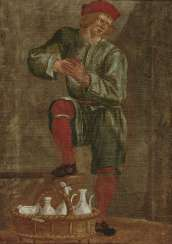Man with a straw basket and vessels