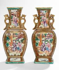 Pair of baluster vases in the colors of the 'Mandarin Palette'
