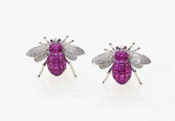 "A pair of ""bee motif"" ear studs with rubies and diamonds"