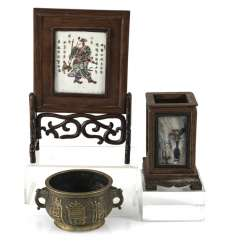 Table control screen with porcelain plaque, brush cups with marble deposits and incense burner