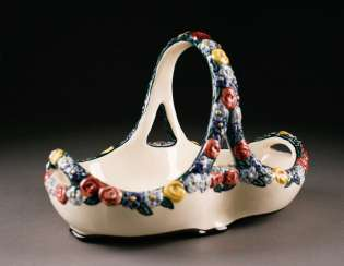 CERAMIC FLOWER handle Cup English, design, Karlsruhe majolica, the beginning of the 19th. Century
