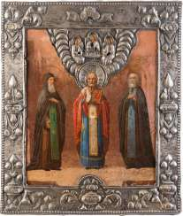 ICON WITH THREE SAINTS WITH SILVER BASMA