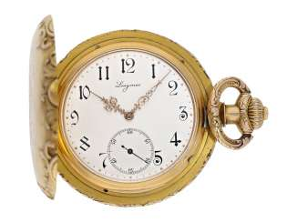 Pocket watch: extremely rare, extremely heavy gold Observatory Chronometer with art Nouveau housing, Longines No. 565606, tested in Neuchatel in the year 1900