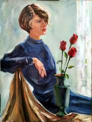 Lady with red roses