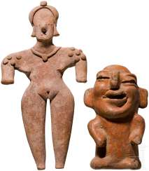 Female Idol, Colima, Mexico, 100 BC - ad 200, and a grotesque terracotta figure