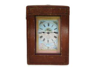 Carriage clock: a very fine, highly complicated Geneva travel clock with enamel painting, Alarm, repeater and Sonnerie, excellent, completely original condition with the original box and original key, Henry Capt Geneve no. 11701, CA. 1890