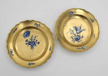 Two plates with gold stock, Meissen, Punktzeit or Marcolini