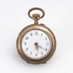 Gold plated ladies pocket watch with enamel flowers