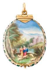 Gold medallion with ideal landscapes
