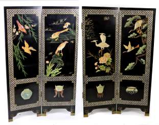 Folding screen with stone carving Japan