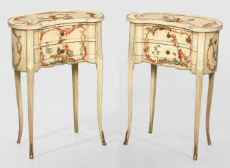 Pair of small chests of drawers with Vernis Martin decor