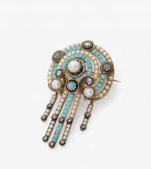 Brooch with pearls, Turquoise, diamonds, and enamel. Germany, around 1870